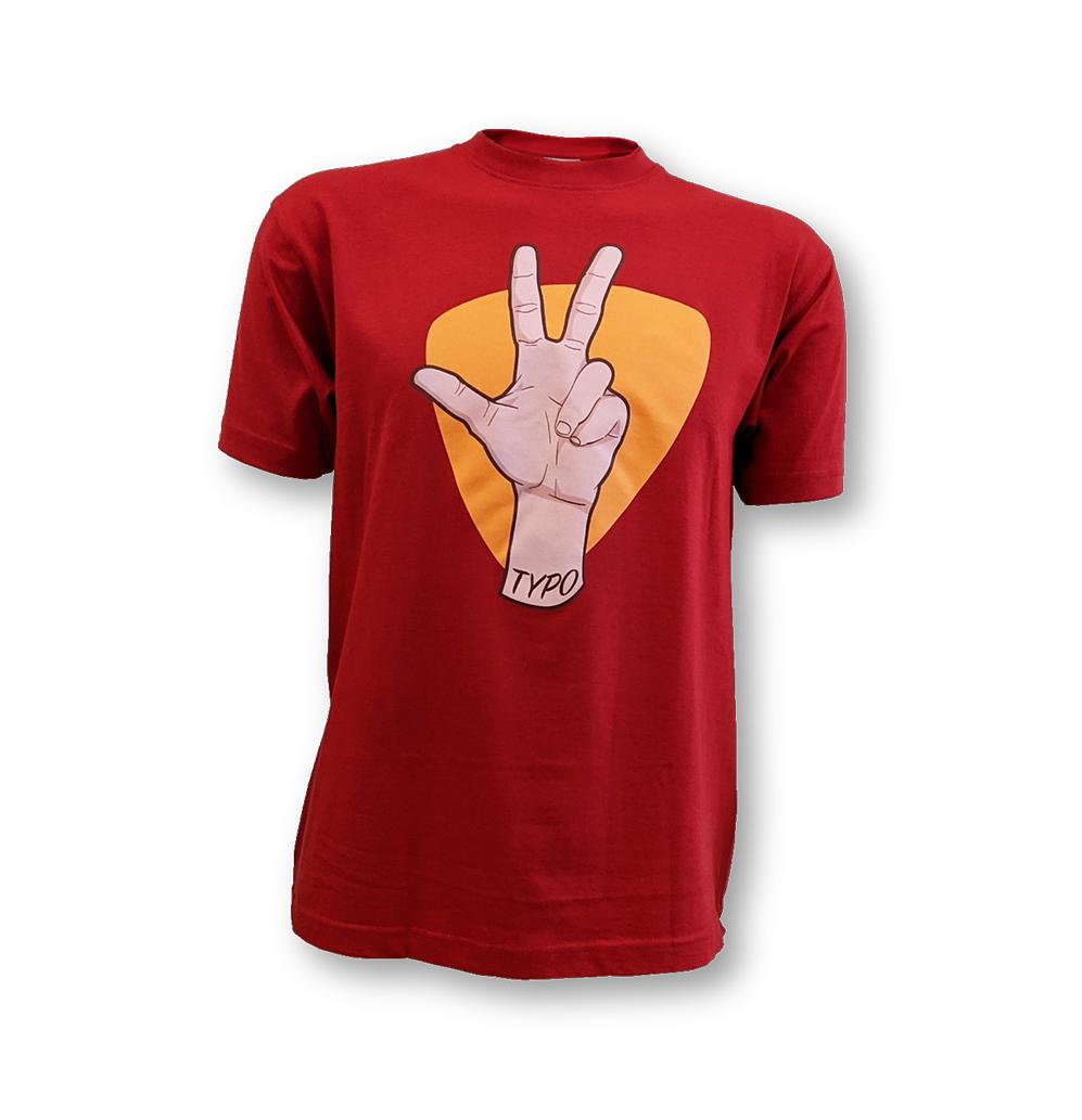 """TYPO3 Unisex T-Shirt """"Hand"""" (Red)"""